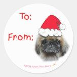 Pekingese Dog Christmas Gift Tag Stickers