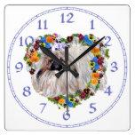Pekingese Dog in Pansy Heart Clock
