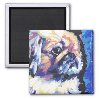 pekingese Dog Pop Art 2 Inch Square Magnet