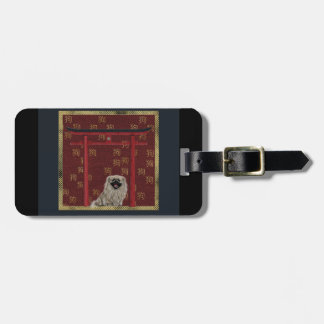 Pekingese Dog, Red Asian Arch, Scattered Sign, Dog Bag Tag