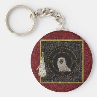 Pekingese Dog, Round Shape, Dog in Chinese, Tassel Keychain