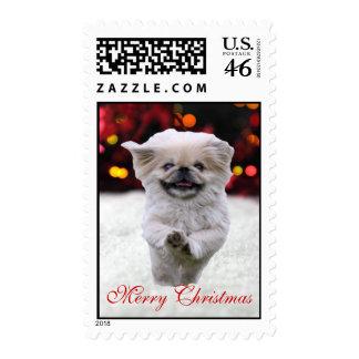Pekingese dog snow custom Christmas postage