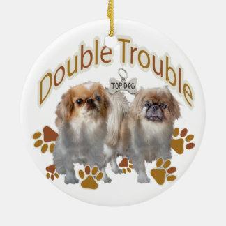 Pekingese Double Trouble Christmas Ornament
