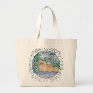 Pekingese en lavanda bolsa tela grande