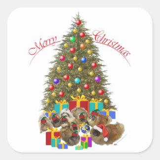 Pekingese Group Celebrates Christmas Stickers