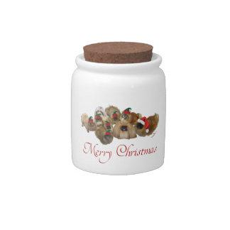 Pekingese Group Christmas Candy Jar