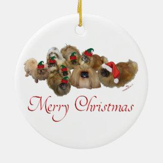 Pekingese Group Christmas Ceramic Ornament