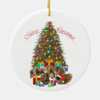 Pekingese Group Christmas Double-Sided Ceramic Round Christmas Ornament