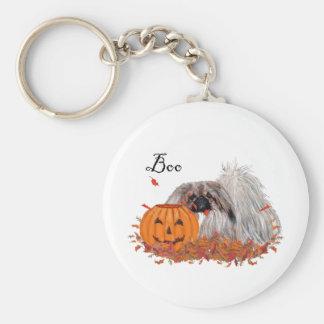 Pekingese Halloween Basic Round Button Keychain