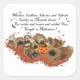 Pekingese Halloween Pegatina Cuadrada