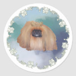 Pekingese Ice Princess Classic Round Sticker