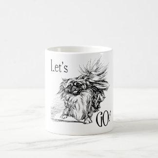 Pekingese impaciente taza básica blanca