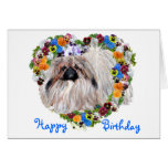 Pekingese in a Floral Heart Birthday Card