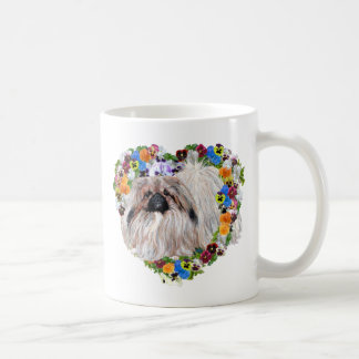 Pekingese in a Floral Heart Coffee Mug