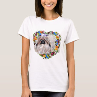 Pekingese in a Floral Heart T-Shirt