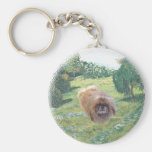 Pekingese in a Meadow Basic Round Button Keychain