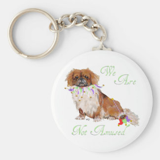 Pekingese in Party Mode Basic Round Button Keychain