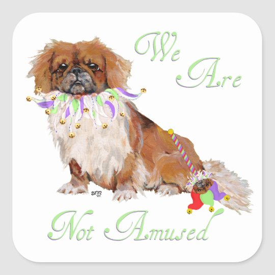 Pekingese in Party Mode Square Sticker