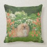 Pekingese in the Garden Throw Pillow