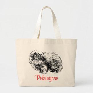 Pekingese Jumbo Canvas Tote Bag