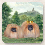 Pekingese King & Queen with Dream Castle Beverage Coaster