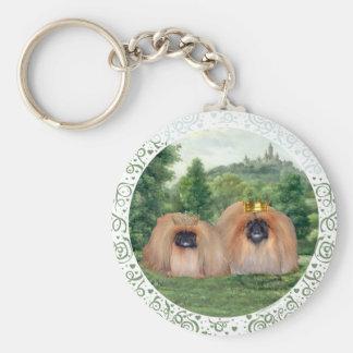 Pekingese King & Queen with Dream Castle Keychain
