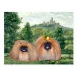 Pekingese King & Queen with Dream Castle Postcard