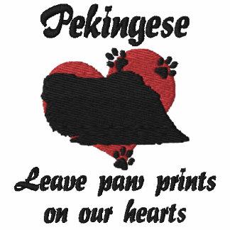 Pekingese Leave Paw Prints Embroidered Shirt