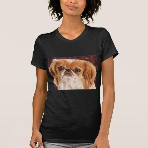 Pekingese lindo con la capa marrón blanca de camiseta