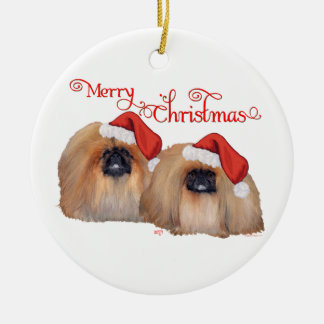 Pekingese Merry Christmas Ceramic Ornament