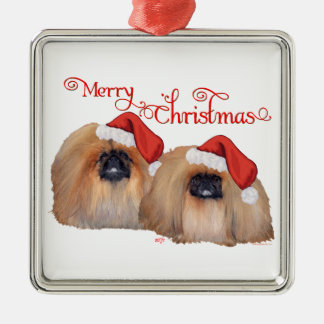 Pekingese Merry Christmas Metal Ornament