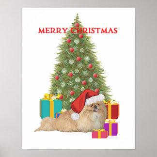 Pekingese Merry Christmas Posters