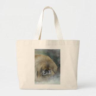 Pekingese pensativo bolsa tela grande