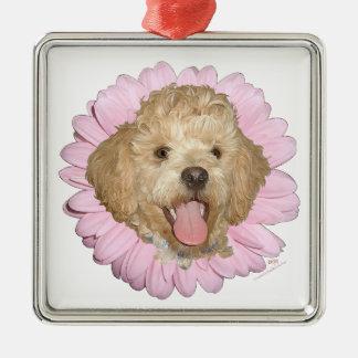 Pekingese / Poodle Mix Springtime Flower Square Metal Christmas Ornament