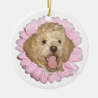 Pekingese / Poodle Mix Springtime Flower Double-Sided Ceramic Round Christmas Ornament