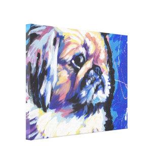 pekingese Pop Art on Stretched Canvas Canvas Print