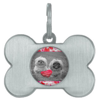 Pekingese Puppies wishing Happy Valentine's Day Pet Tag