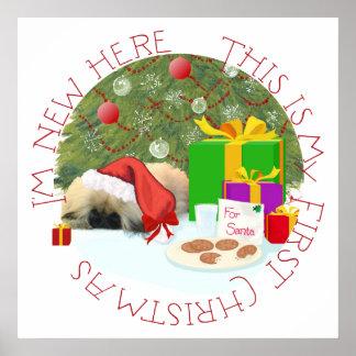 Pekingese Puppy 1st Christmas Poster