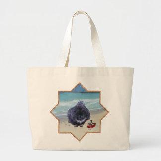 Pekingese Puppy at the Beach Canvas Bags