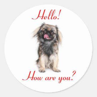 Pekingese Puppy Dog Red Hello Classic Round Sticker