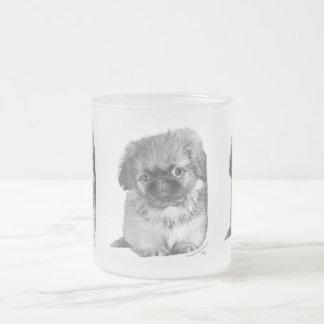 Pekingese Puppy Frosted Glass Coffee Mug