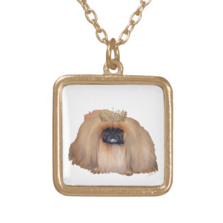 Pekingese Queen Gold Plated Necklace