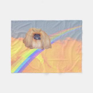 Pekingese Rainbow Fleece Blanket