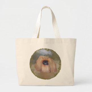 Pekingese real bolsa tela grande