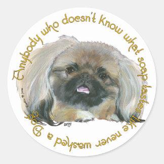 Pekingese Wisdom - Bathing your Dog Classic Round Sticker