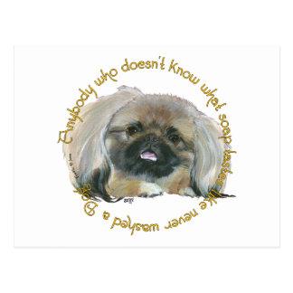 Pekingese Wisdom - Bathing your Dog Postcard