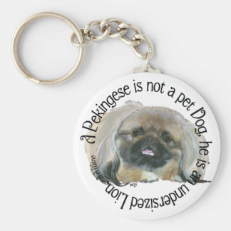 Pekingese Wisdom - Undersized Lion ! Basic Round Button Keychain