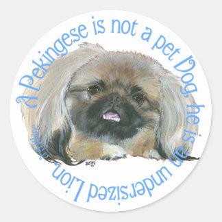 Pekingese Wisdom - Undersized Lion ! Classic Round Sticker