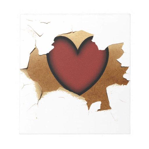 Peladura/que se agrieta con el corazón rústico bloc de papel