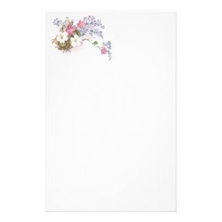 Pelargonium & Forget Me Not Victorian Trade Card Stationery
